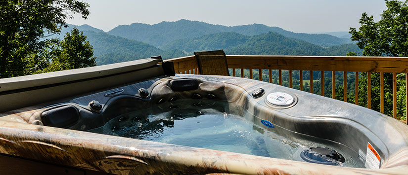 Hot Tub on deck overlooking NC Mountains