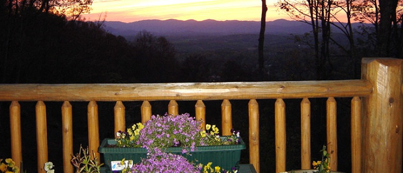 Sunset View from Deck overlooking Asheville