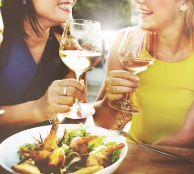 people enjoying wine and food | Asheville Connections