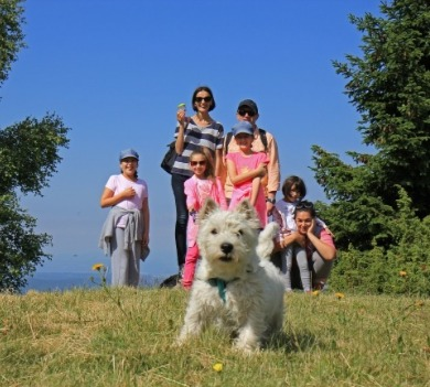 Family hiking with their puppy | Asheville Connections