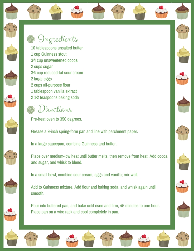 Asheville Eats Chocolate Guinness Cupcakes 2016 Recipe Cards