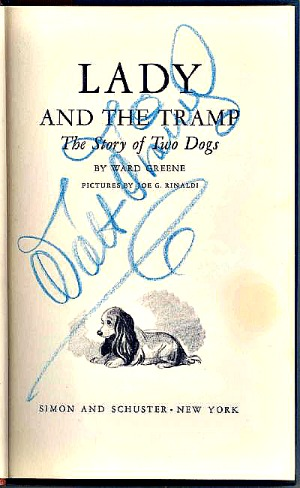 Lady and the Tramp novel title page signed by Walt Disney