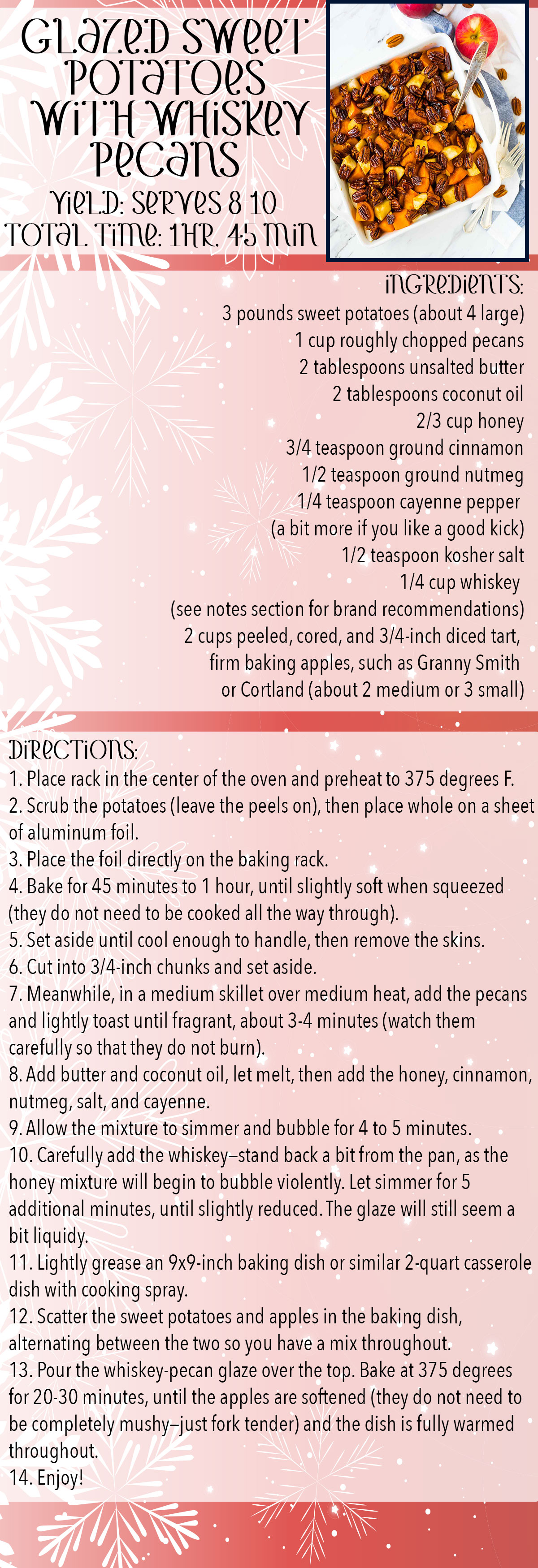 Glazed Sweet Potatoes With Whiskey Pecans Recipe Card
