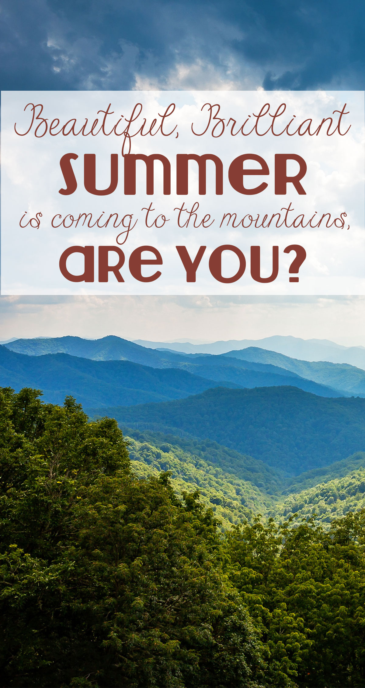 Beautiful, Brilliant Summer is Coming to the Mountains Pin