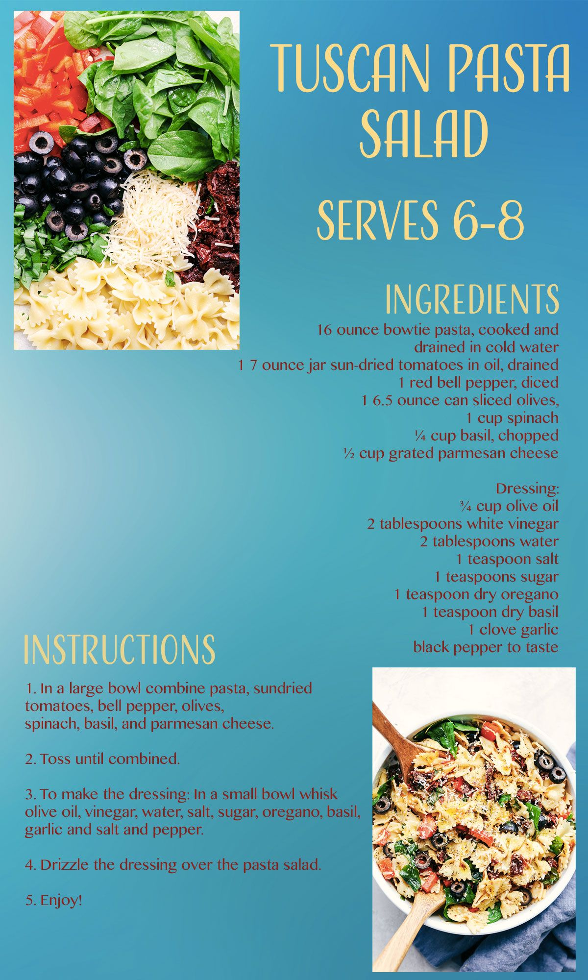 Tuscan Pasta Salad Recipe Card