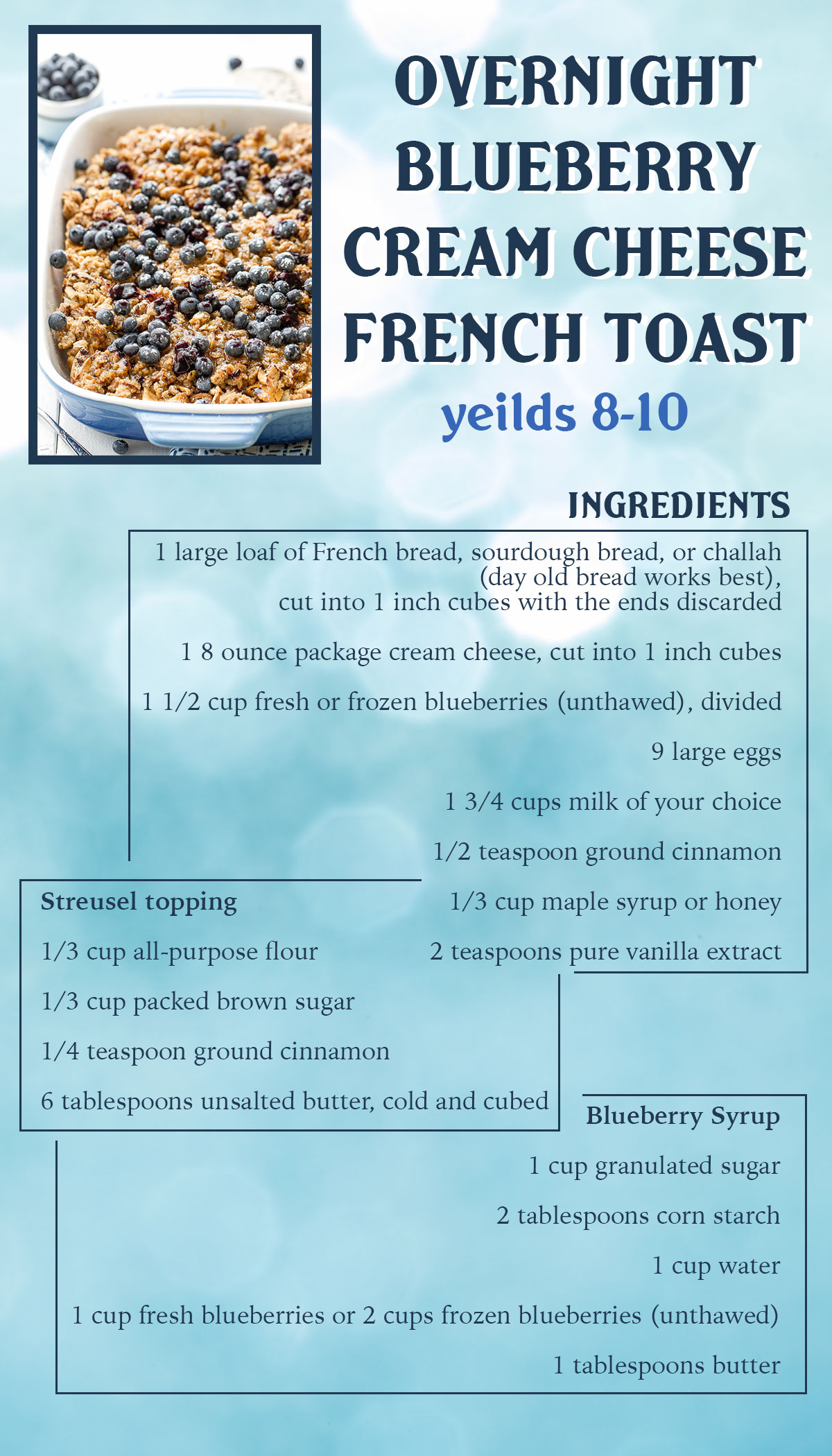 Overnight Blueberry Cream Cheese French Toast Recipe Card