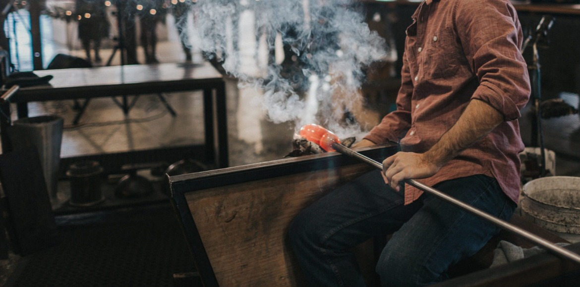 Man blowing glass | Asheville Connections